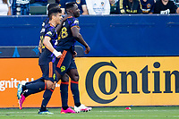 CARSON, CA - JUNE 19: Yeimar Gomez Andrade #28 of the Seattle Sounders FC heads a ball for a goal and celebrates during a game between Seattle Sounders FC and Los Angeles Galaxy at Dignity Health Sports Park on June 19, 2021 in Carson, California.
