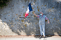 roadside scenes: french flagger<br /> <br /> Stage 11 from Châtelaillon-Plage to Poitiers (168km)<br /> <br /> 107th Tour de France 2020 (2.UWT)<br /> (the 'postponed edition' held in september)<br /> <br /> ©kramon