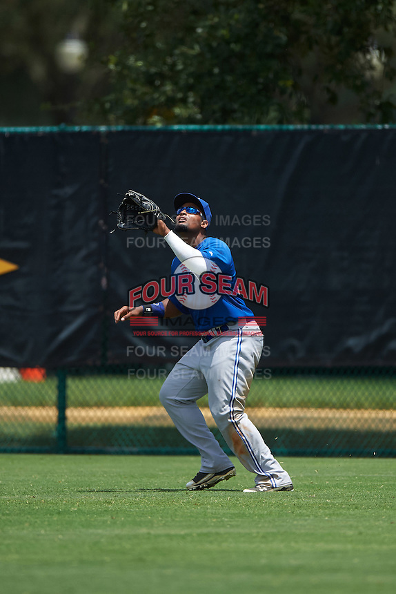 GCL Blue Jays right fielder Francisco Rodriguez (55) catches a fly ball during a game against the GCL Braves on August 5, 2016 at ESPN Wide World of Sports in Orlando, Florida.  GCL Braves defeated the GCL Blue Jays 9-0.  (Mike Janes/Four Seam Images)