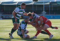 Luc Jones of Jersey Reds is tackled during the Greene King IPA Championship match between Ealing Trailfinders and Jersey at Castle Bar, West Ealing, England  on 19 October 2019. Photo by Alan Stanford / PRiME Media Images