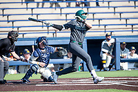 Michigan State first baseman Brock Vradenburg (48) follows through on his swing against the Michigan Wolverines on March 21, 2021 in NCAA baseball action at Ray Fisher Stadium in Ann Arbor, Michigan. Michigan scored 8 runs in the bottom of the ninth inning to defeat the Spartans 8-7. (Andrew Woolley/Four Seam Images)