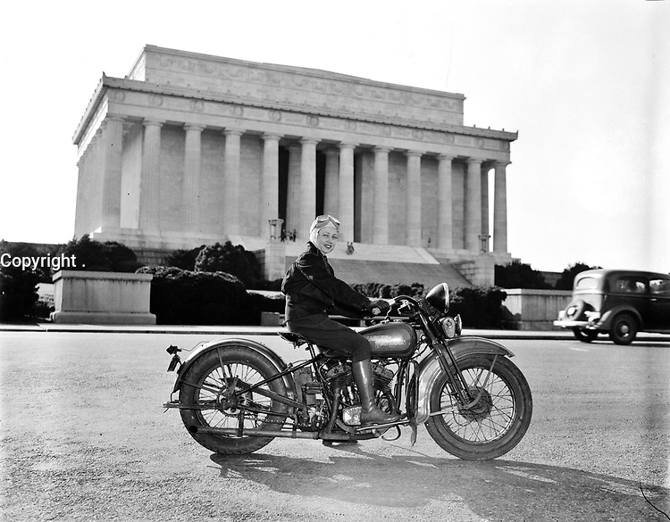 Trailblazer: Mrs. Sally Halterman first woman to be granted a license to operate a motorcycle in the District of Columbia. 27 years old and 4 feet, 11 inches tall, she weights only 88 pounds--one-third of the machine she rides. Sept 1937.<br /> <br /> Photo by Harris & Ewing.