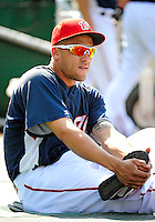 21 June 2010: Washington Nationals' infielder Ian Desmond stretches out prior to a game against the Kansas City Royals at Nationals Park in Washington, DC. The Nationals edged out the Royals 2-1 in the first game of their 3-game interleague series, snapping a 6-game losing streak. Mandatory Credit: Ed Wolfstein Photo