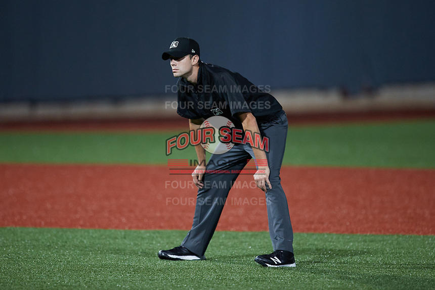 Umpire Willie Traynor handles the calls on the bases during the game between the Hudson Valley Renegades and the Aberdeen IronBirds at Leidos Field at Ripken Stadium on July 23, 2021, in Aberdeen, MD. (Brian Westerholt/Four Seam Images)