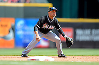 Miami Marlins third baseman Placido Polanco #30 during a game against the Cincinnati Reds at Great American Ball Park on April 20, 2013 in Cincinnati, Ohio.  Cincinnati defeated Miami 3-2 in 13 innings.  (Mike Janes/Four Seam Images)