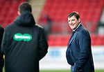 St Johnstone v Kilmarnock…24.11.18…   McDiarmid Park    SPFL<br />Tommy Wright has a smile for 4th official Kevin Clancy<br />Picture by Graeme Hart. <br />Copyright Perthshire Picture Agency<br />Tel: 01738 623350  Mobile: 07990 594431