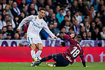 Cristiano Ronaldo (l) of Real Madrid battles for the ball with Anaitz Arbilla Zabala of SD Eibar during the La Liga 2017-18 match between Real Madrid and SD Eibar at Estadio Santiago Bernabeu on 22 October 2017 in Madrid, Spain. Photo by Diego Gonzalez / Power Sport Images