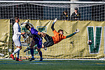 5 October 2019: University of Vermont Catamount Goalkeeper Aron Runarsson, a Senior from Akureyri, Iceland, gives up a second half gaol to the University at Albany Great Danes, on Virtue Field in Burlington, Vermont. The Catamounts fell to the visiting Danes 3-1 in America East, Division 1 play. Mandatory Credit: Ed Wolfstein Photo *** RAW (NEF) Image File Available ***