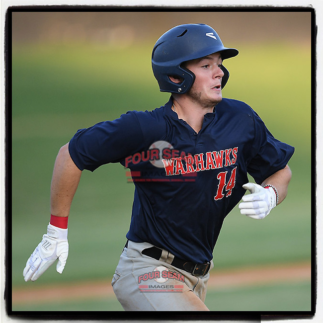Blue Ridge High grad T.J. Highsmith (14) of the Greer Warhawks, a USC-Sumter commit, runs out a batted ball in a South Carolina American League game against Easley on Tuesday, July 14, 2020, at Stevens Field in Greer, South Carolina. Greer won, 18-1. (Tom Priddy/Four Seam Images)