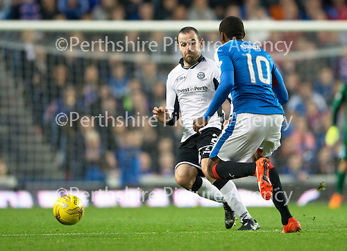Rangers v St Johnstone...22.09.15  Scottish League Cup Round 3, Ibrox Stadium<br /> Dave Mackay blocks off Nathan Oduwa<br /> Picture by Graeme Hart.<br /> Copyright Perthshire Picture Agency<br /> Tel: 01738 623350  Mobile: 07990 594431