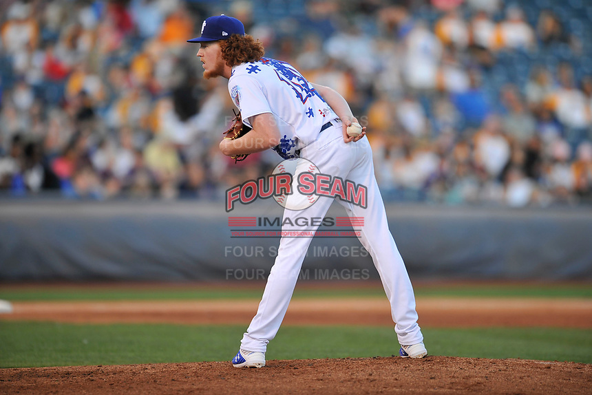 Tulsa Drillers starting pitcher Dustin May (12) in action against the Corpus Christi Hooks at Oneok Stadium on May 4, 2019 in Tulsa, Oklahoma.  The Hooks won 9-7.  (Dennis Hubbard/Four Seam Images)