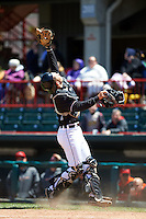 Erie Seawolves catcher Austin Green (3) catches a pop up in foul territory during a game against the Richmond Flying Squirrels on May 20, 2015 at Jerry Uht Park in Erie, Pennsylvania.  Erie defeated Richmond 5-2.  (Mike Janes/Four Seam Images)
