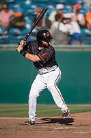 San Jose Giants catcher Matt Winn (10) at bat during a California League game against the Lancaster JetHawks at San Jose Municipal Stadium on May 12, 2018 in San Jose, California. Lancaster defeated San Jose 7-6. (Zachary Lucy/Four Seam Images)