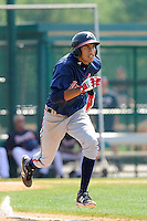 Outfielder Victor Reyes (56) of the Atlanta Braves farm system in a Minor League Spring Training intrasquad game on Wednesday, March 18, 2015, at the ESPN Wide World of Sports Complex in Lake Buena Vista, Florida. (Tom Priddy/Four Seam Images)