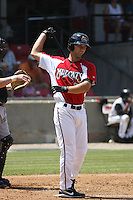 Brandon Yarbrough of the Carolina Mudcats at bat during a game against the West Tenn Diamond Jaxx on May 30, 2010 in Zebulon, NC.