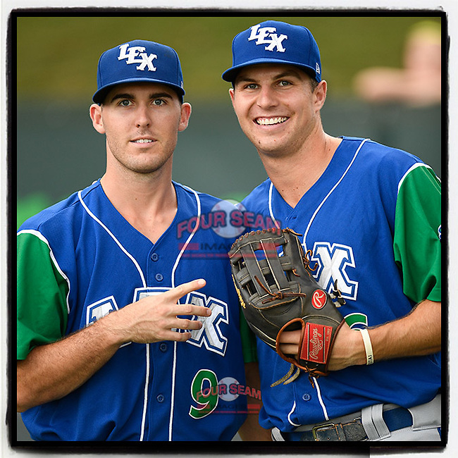 Cal Jones (9) and Brewer Hicklen (16) of the Lexington Legends pose for a photo before a game against the Greenville Drive on Sunday, September 2, 2018, at Fluor Field at the West End in Greenville, South Carolina. (Tom Priddy/Four Seam Images)