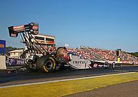 Aug 15, 2014; Brainerd, MN, USA; NHRA top fuel dragster driver Leah Pritchett during qualifying for the Lucas Oil Nationals at Brainerd International Raceway. Mandatory Credit: Mark J. Rebilas-