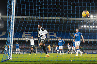 14th February 2021, Doddison Park, Liverpool, England;  Fulhams Josh Maja front celebrates after scoring his second goal during the Premier League match between Everton and Fulham at Goodison Park in Liverpool