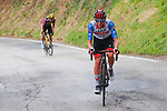 Race leader Maglia Azzurra Tadej Pogacar (SLO) UAE Team Emirates and Maglia Ciclamino Wout Van Aert (BEL) Team Jumbo-Visma on the final climb during Stage 5 of Tirreno-Adriatico Eolo 2021, running 205km from Castellalto to Castelfidardo, Italy. 14th March 2021. <br /> Photo: Luca Bettini/BettiniPhoto | Cyclefile<br /> <br /> All photos usage must carry mandatory copyright credit (© Cyclefile | Luca Bettini/BettiniPhoto)