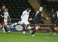 Pictured: Jason Scotland of Swansea (L) equalizing during stoppage time<br /> Re: Coca Cola Championship, Swansea City FC v Barnsley at the Liberty Stadium. Swansea, south Wales, Tuesday 09 December 2008.<br /> Picture by D Legakis Photography / Athena Picture Agency, Swansea 07815441513