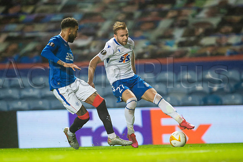29th October 2020, Ibrox Stadium, Glasgow, Scotland; UEFA Europa League football, group stages; Glasgow Rangers versus Lech Poznan; Tymoteusz Puchacz holds off the challenge