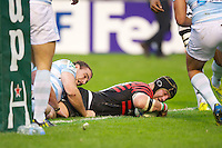 20121020 Copyright onEdition 2012©.Free for editorial use image, please credit: onEdition..Steve Borthwick of Saracens touches down to score a try during the Heineken Cup Round 2 match between Saracens and Racing Metro 92 at the King Baudouin Stadium, Brussels on Saturday 20th October 2012 (Photo by Rob Munro)..For press contacts contact: Sam Feasey at brandRapport on M: +44 (0)7717 757114 E: SFeasey@brand-rapport.com..If you require a higher resolution image or you have any other onEdition photographic enquiries, please contact onEdition on 0845 900 2 900 or email info@onEdition.com.This image is copyright the onEdition 2012©..This image has been supplied by onEdition and must be credited onEdition. The author is asserting his full Moral rights in relation to the publication of this image. Rights for onward transmission of any image or file is not granted or implied. Changing or deleting Copyright information is illegal as specified in the Copyright, Design and Patents Act 1988. If you are in any way unsure of your right to publish this image please contact onEdition on 0845 900 2 900 or email info@onEdition.com