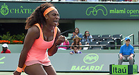 KEY BISCAYNE, FL - MARCH 28: Serena Williams of the United States defeats Monica Niculescu of Romania in their second round match during the Miami Open Presented by Itau at Crandon Park Tennis Center on March 28, 2015 in Key Biscayne, Florida.<br /> <br /> <br /> People:  Serena Williams<br /> <br /> Transmission Ref:  FLXX<br /> <br /> Must call if interested<br /> Michael Storms<br /> Storms Media Group Inc.<br /> 305-632-3400 - Cell<br /> 305-513-5783 - Fax<br /> MikeStorm@aol.com