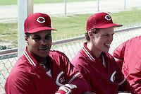 Cincinnati Reds infielders Barry Larkin and Todd Benzinger during spring training circa 1989.  (MJA/Four Seam Images)