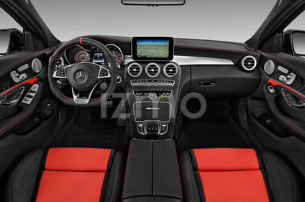 Stock photo of straight dashboard view of 2018 Mercedes Benz C-Class AMG-C63-S 4 Door Sedan Dashboard