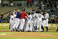 The West team celebrates after winning the 2018 Arizona Fall League Fall Stars Game, 7-6, at Surprise Stadium on November 3, 2018 in Surprise, Arizona.  (Bill Mitchell)
