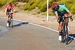 Richard Carapaz (ECU) Ineos Grenadiers attacks race leader Primoz Roglic (SLO) Team Jumbo-Visma on the slopes of the Alto de la Covatilla during Stage 17 of the Vuelta Espana 2020, running 178.2km from Sequeros to Alto de la Covatilla, Spain. 7th November 2020. <br /> Picture: Luis Angel Gomez/PhotoSportGomez | Cyclefile<br /> <br /> All photos usage must carry mandatory copyright credit (© Cyclefile | Luis Angel Gomez/PhotoSportGomez)