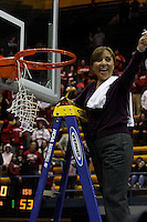 BERKELEY, CA - MARCH 30: Marcella Shorty cuts down the net following Stanford's 74-53 win against the Iowa State Cyclones on March 30, 2009 at Haas Pavilion in Berkeley, California.