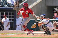 Springfield Cardinals C.J. McElroy (4) swings during the game against the Northwest Arkansas Naturals at Arvest Ballpark on May 4, 2016 in Springdale, Arkansas.  Springfield won 10-6.  (Dennis Hubbard/Four Seam Images)