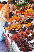 On a street market. Fruit and vegetable stands. Thessaloniki, Macedonia, Greece