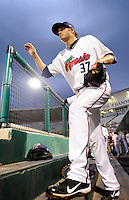 Fort Myers Miracle pitcher D.J. Baxendale #37 during a game against the Jupiter Hammerheads on April 9, 2013 at Hammond Stadium in Fort Myers, Florida.  Fort Myers defeated Jupiter 1-0.  (Mike Janes/Four Seam Images)