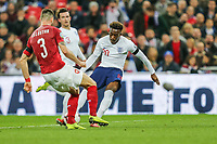 Callum Hudson-Odoi (Chelsea) of England shoots resulting in an own goal and England's 5th goal during the UEFA 2020 Euro Qualifier match between England and Czech Republic at Wembley Stadium, London, England on 22 March 2019. Photo by David Horn.