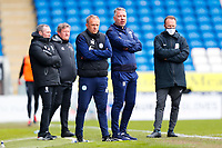 1st May 2021; Weston Homes Stadium, Peterborough, Cambridgeshire, England; English Football League One Football, Peterborough United versus Lincoln City; The Peterborough United coaching staff watch the action at the Lincoln City end