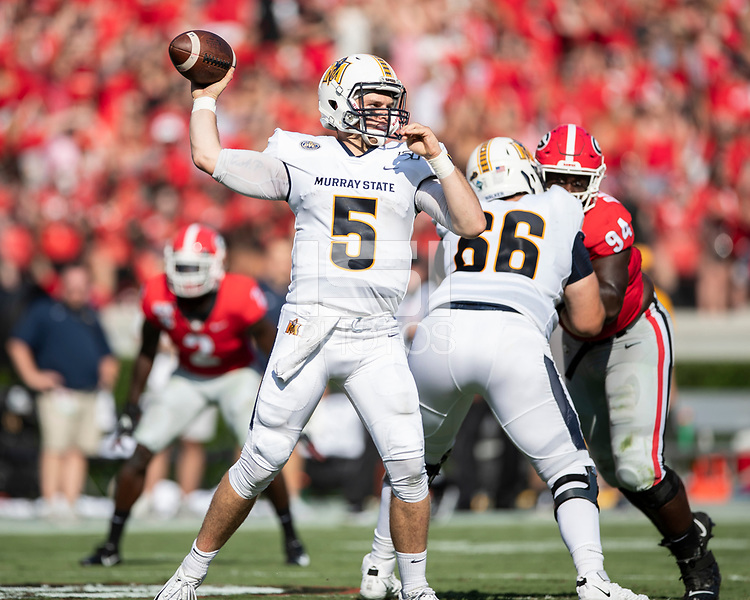 ATHENS, GA - SEPTEMBER 7: Preston Rice #5 throws a pass during a game between Murray State Racers and University of Georgia Bulldogs at Sanford Stadium on September 7, 2019 in Athens, Georgia.
