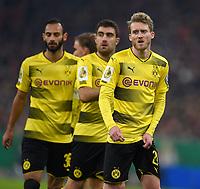 20.12.2017, Football DFB-Pokal 2017, ,  FC Bayern Muenchen - Borussia Dortmund, in Allianz-Arena Muenchen.  OEmer Toprak (Dortmund), Sokratis (Dortmund) and Andre Schuerrle (Dortmund)  *** Local Caption *** © pixathlon<br /> <br /> +++ NED + SUI out !!! +++<br /> Contact: +49-40-22 63 02 60 , info@pixathlon.de