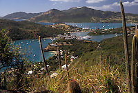 AJ2456, Antigua, Caribbean, Caribbean Islands, Scenic aerial view of English Harbour on the island of Antigua (a British Commonwealth member).