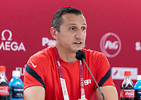 TOKYO, JAPAN - JULY 20: Vlatko Andonovski of the USWNT talks to the media during a press conference at Tokyo Stadium on July 20, 2021 in Tokyo, Japan.