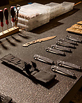 April 16, 2019. Southern Pines, North Carolina.<br /> <br /> Various knives await final testing and assembly at Spartan Blades. <br /> <br /> Spartan Blades and Southern Pines Brewing Company are owned by veterans of the United States military Special Operations community.