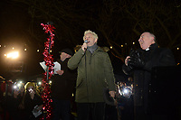 Pictured: Actor Michael Sheen at the Christmas Lights switch on in Ystradgynlais, Wales, UK.<br /> Re: Hundreds of people gathered in Ystadgynlais, south Wales, for the Christmas lights switch on by actor Michael Sheen.<br /> The Port Talbot-raised, Hollywood actor led the big countdown to begin the Christmas festivities in Gorsedd Park.<br /> The event comes in the wake of the star taking a shine to the area after filming for a TV programme.