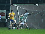 Conor Finucane of Clare scores a late point during the Mc Nulty Cup U-21 final against Limerick at The Gaelic Grounds. Photograph by John Kelly.