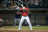 Ian Dawkins (23) of the Birmingham Barons at bat against the Mississippi Braves at Regions Field on August 3, 2021, in Birmingham, Alabama. (Brian Westerholt/Four Seam Images)