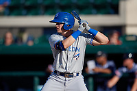 Dunedin Blue Jays Kacy Clemens (21) at bat during a Florida State League game against the Lakeland Flying Tigers on May 18, 2019 at Publix Field at Joker Marchant Stadium in Lakeland, Florida.  Dunedin defeated Lakeland 3-2 in eleven innings.  (Mike Janes/Four Seam Images)