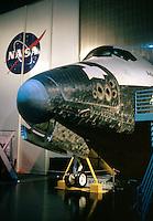 Space Center Houston. Space Shuttle exhibit, NASA emblem in background. Houston Texas, Johnson Space Center.