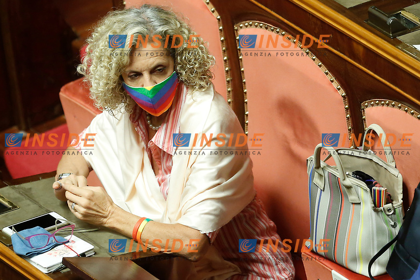 The Senator of Democratic Party Monica Cirinna' wearing a rainbow face mask during the information at the Senate about the violence in the prison of Santa Maria Capua Vetere<br /> Rome (Italy), July 21st 2021<br /> Photo Samantha Zucchi Insidefoto