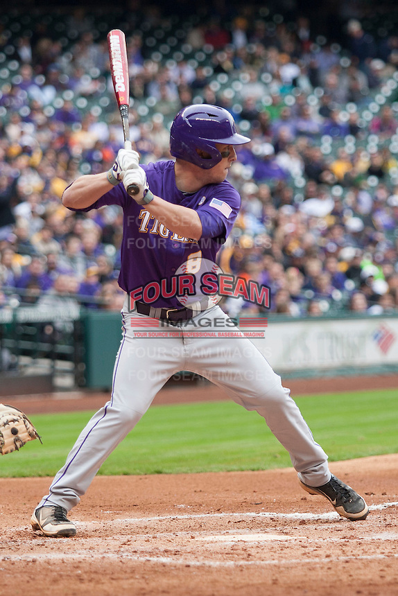 LSU Tigers shortstop Alex Bregman (8) at bat during the NCAA baseball game against the Baylor Bears on March 7, 2015 in the Houston College Classic at Minute Maid Park in Houston, Texas. LSU defeated Baylor 2-0. (Andrew Woolley/Four Seam Images)