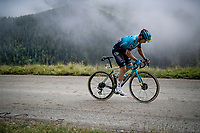 Alexey Lutsenko (KAZ/Astana - Premier Tech) in the final kilometers up the final climb of the day; the Col du Portet (HC/2215m)<br /> <br /> Stage 17 from Muret to Saint-Lary-Soulan (Col du Portet)(178km)<br /> 108th Tour de France 2021 (2.UWT)<br /> <br /> ©kramon